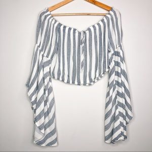 American Threads Stripe Flare Sleeve Crop Top